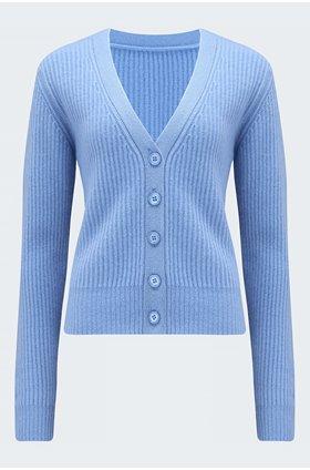 ribbed cardigan in cornflower blue