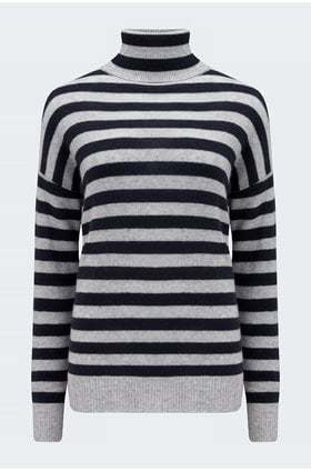 striped roll neck in super grey and navy