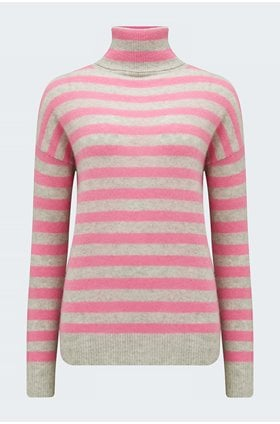 striped lightweight rollneck in pale grey and candy
