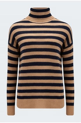 striped lightweight roll neck in camel and navy