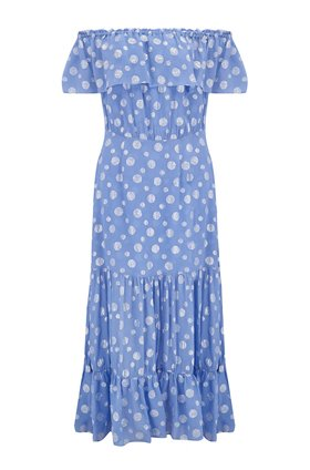 Rixo Queenie Dress in Powder Blue Silver Spot