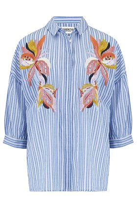 Essentiel Antwerp Solution Embroidered Shirt in Blue and Off White Stripe
