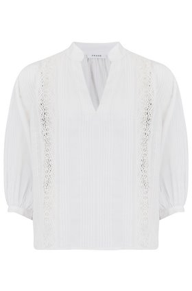 Cali Lace Popover Blouse in Blanc