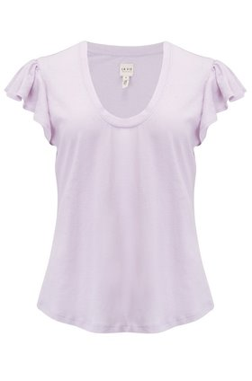 Washed Textured Jersey Top in Lilac Wine