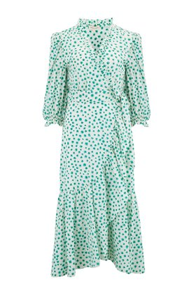 Emerald Daisy Wrap Dress in Cream Combo