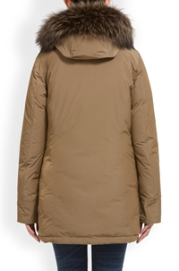 luxury arctic fox parka in taupe