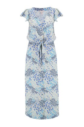 Rebecca Taylor Ava Tie Waist Dress in Cream and Blue Combo