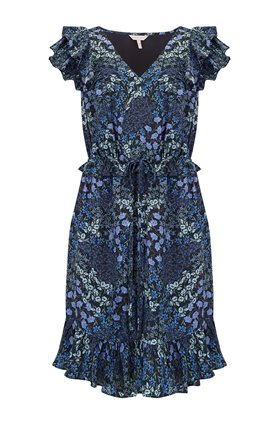 Rebecca Taylor Ava V-Neck Ruffle Dress in Navy Combo