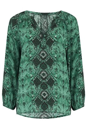 Trilogy Leonie Blouse in Green Snake