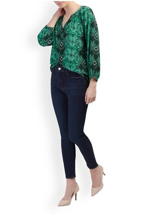 Trilogy Clothing Leonie Blouse in Green Snake