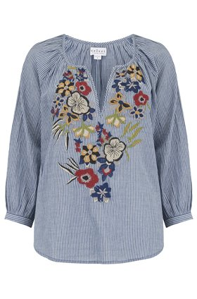Velvet Melia Embroidered Top in Chambray Stripe