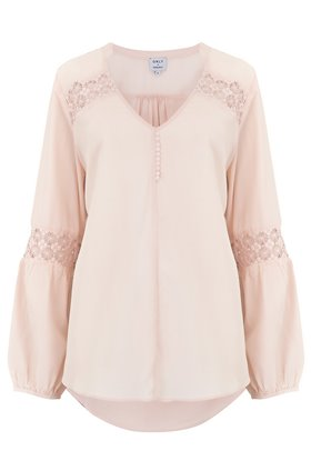 Trilogy Pia Lace Insert Blouse in Nude