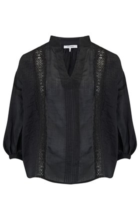 Cali Lace Popover Blouse in Noir