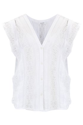 Frame Lace Pintuck Blouse in Blanc