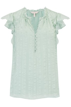 Rebecca Taylor Silk Stripe Top in Spearmint