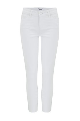 Paige Skyline Skinny Crop Jean in Lived In Crisp White
