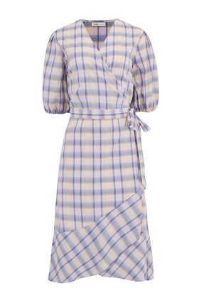 Levete Room  Flo Checked Wrap Dress in Purple