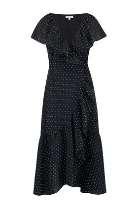 Rebecca Taylor Short Sleeve Birdseye Dot Wrap Dress in Black