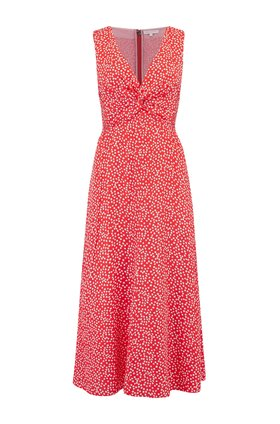 Rebecca Taylor Sleeveless Malia Twist Dress in Cherry Combo