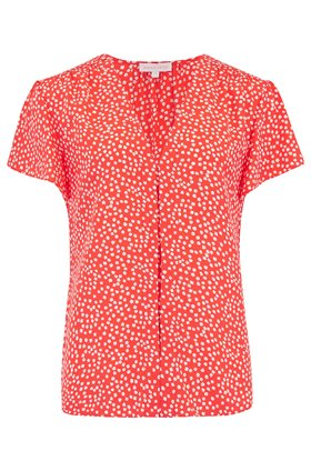 Rebecca Taylor Malia V-Neck Top in Cherry Combo