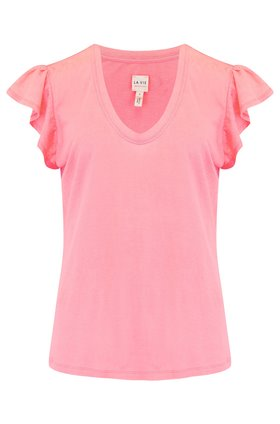 Rebecca Taylor La Vie  Washed Textured Jersey Top in Stawberry Ice