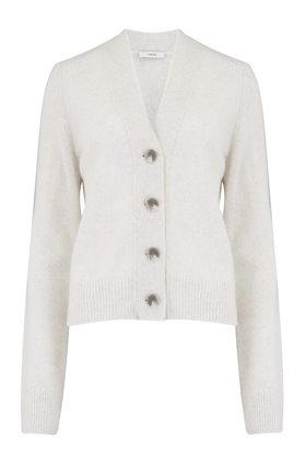 Shrunken Button Cardigan in Heather White