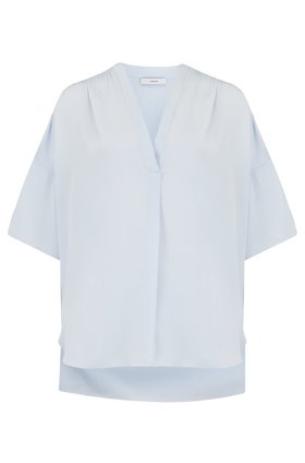 shirred v-neck blouse in powder blue