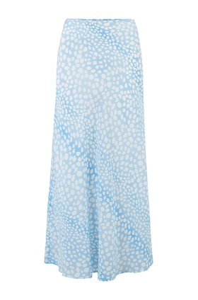 Rixo Kelly Skirt in Ombre Blue Leopard