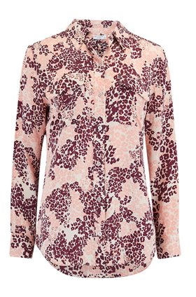 Equipment Slim Signature Shirt in Leopard Rose Cloud Multi