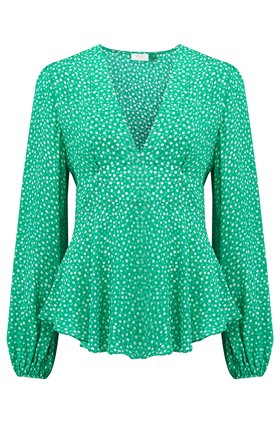 Rixo Kiki Top in Retro Green Floral