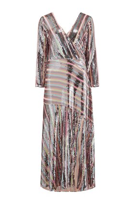 Rixo Tyra Dress in Sequin Stripe