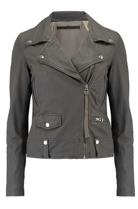 seattle thin leather biker jacket in grey