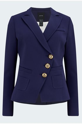 wrap blazer in navy