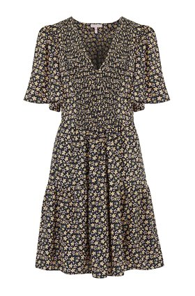 Rebecca Taylor Louisa Floral Dress in Yellow Combo