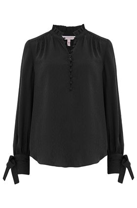 Rebecca Taylor Long Sleeve Cheetah Jacquard Top in Black
