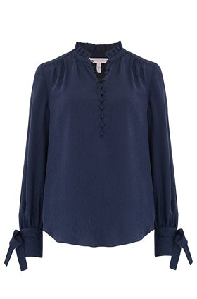 Rebecca Taylor Long Sleeve Cheetah Jacquard Top in Navy