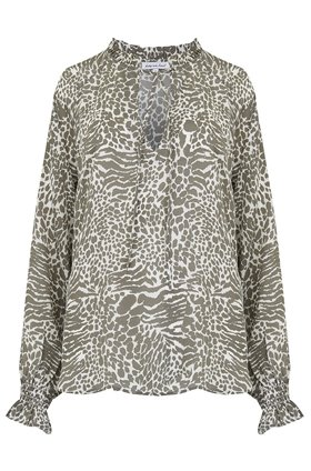 Lily & Lionel Florence Blouse in Animal Khaki