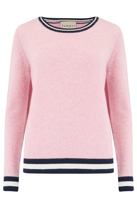 Jumper1234 Heavy Boxy Rib Crew Jumper in Pink