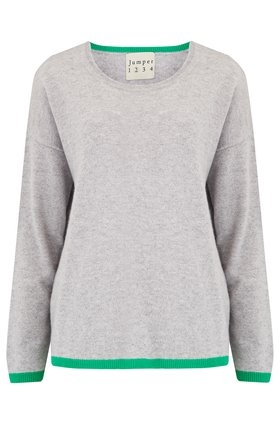 Jumper1234 Tipped  Crew Jumper in Pewter Grey and Green