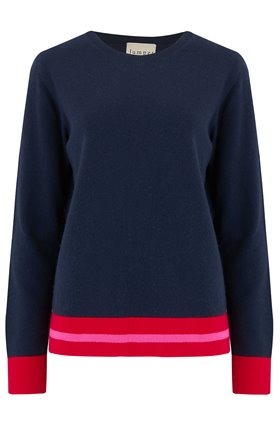 Jumper1234 Multi Stripe Boxy Jumper in Navy and Neon Pink