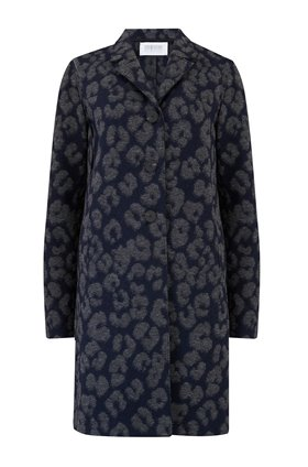 Harris Wharf London Boxy Coat in Leopard Jacquard Navy