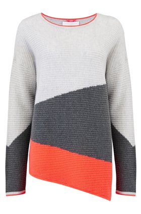 Cocoa Cashmere Diagonal Rib Jumper in Cloud