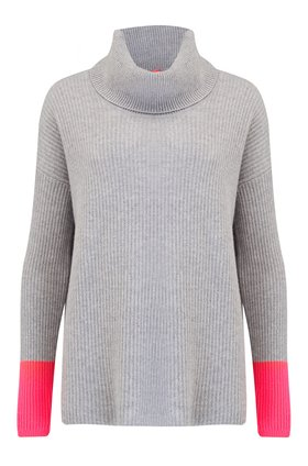 Cocoa Cashmere Funnell Rib Neck Jumper in Grey and Pink