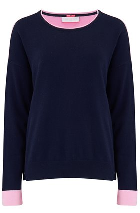 Cocoa Cashmere Crew Contrast Jumper in Navy and Pink
