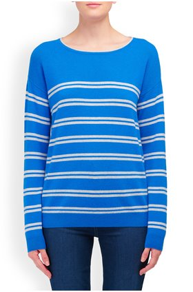 Cocoa Cashmere Crew Neck Stripe Jumper in Electric Blue and Grey
