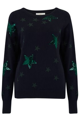 Jeff Knitwear Clay in Sequin Star Navy