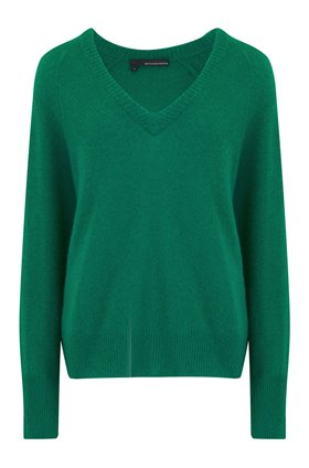 360 Sweater Callie V Neck Jumper in Emerald