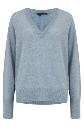360 Sweater Callie V Neck Jumper in Stonewashed