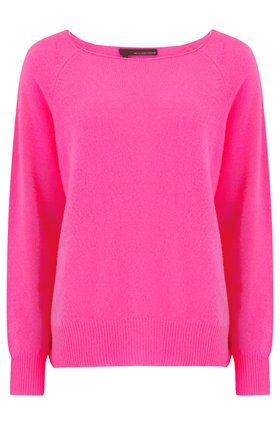 360 Sweater Jolene Crew Neck Jumper in Dayglo Pink