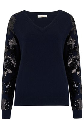 Jeff Knitwear Crystal Sequin Jumper in Navy